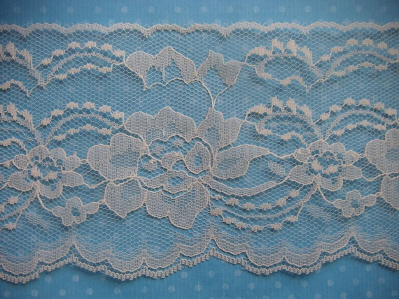 Wide Vintage Ivory White Flat Lace. 4 1/2 Inches Wide, I 1/2 Yards