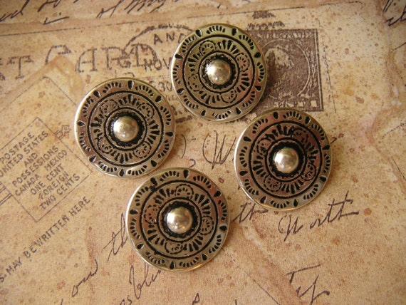 Beautiful Large Antiqued Silver Metal Buttons, Made In Austria