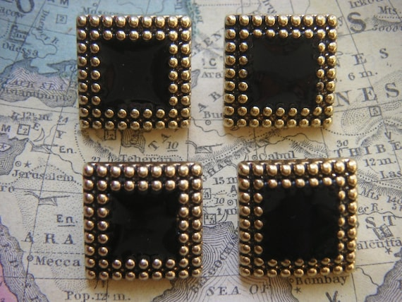 Large Classic Black and Gold Square Buttons, Made In Italy