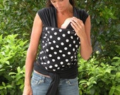 Baby Sling Wrap Carrier- ORGANIC COTTON Baby Wrap-White Polka Dots-Newborn through Toddler- DvD Included