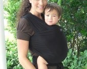 Ready To Ship-Baby Wrap Sling Carrier-ORGANIC Cotton Baby Wrap/Sling Carrier- Black-Newborn to Toddler-DvD Included-One Size Fits All