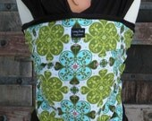 ORGANIC BAMBOO Baby Wrap Sling Carrier-Gothic Blue on Brown-Newborn to Toddler-DVD Included