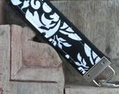 READY TO SHIP-Beautiful Key Fob/Keychain/Wristlet-Black Damask