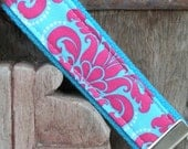 READY TO SHIP-Beautiful Key Fob/Keychain/Wristlet- Cotton Candy on Turq