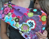 LARGE-Just Like Mommy Baby Doll Sling- Funky Flowers-Perfect For American Girl Dolls-Free Shipping When Purchased With a Wrap