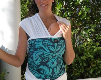 ORGANIC COTTON Baby Wrap Sling Carrier-Teal Acanthus on White-DvD Included-One Size Fits All