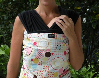 ORGANIC Baby Wrap/Sling Carrier-Lightbright on Black-Newborn through Toddler- DVD INCLUDED