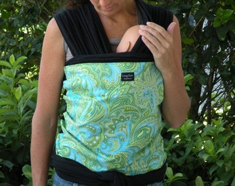 Baby Sling Wrap Carrier-ORGANIC COTTON- Hands-Free Baby Carrier-Blue Green Paisley-Newborn-Toddler-DvD Included