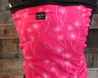 Organic Cotton Baby Wrap-Dandelion on Black-Newborn through Toddler- DvD included
