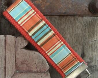 READY TO SHIP-Beautiful Key Fob/Keychain/Wristlet-Blue/Orange Stripes on Orange