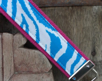 READY TO SHIP-Beautiful Key Fob/Keychain/Wristlet-Turq Zebra on Pink