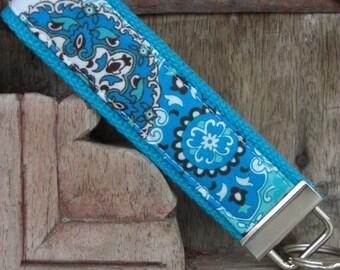 READY TO SHIP-Beautiful Key Fob/Keychain/Wristlet-Blue Paisley on Turq