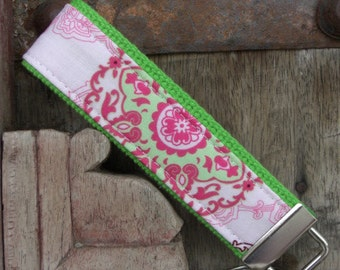READY TO SHIP-Beautiful Key Fob/Keychain/Wristlet-Pink Paisley on Lime