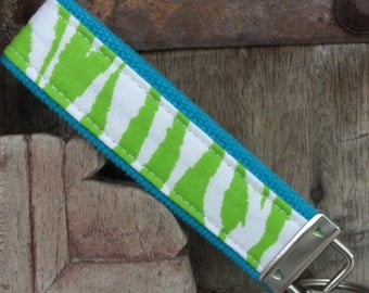 READY TO SHIP-Beautiful Key Fob/Keychain/Wristlet-Turq Zebra on Lime