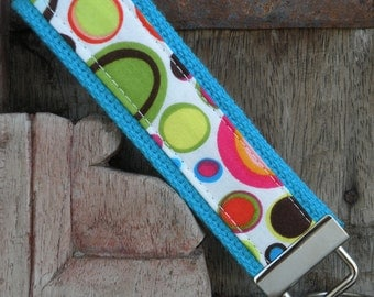 READY TO SHIP-Beautiful Key Fob/Keychain/Wristlet-Lota Dots on Turq