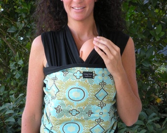 ORGANIC Cotton Baby Wrap/Sling Carrier-Kashmir Duck on Black-Our Wraps Are One Size Fits All-DvD Included