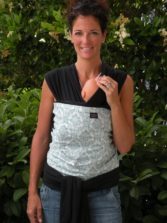 ORGANIC COTTON BABY Wrap Sling Carrier-Teal Damask on Black-Newborn through Toddler- DvD Included
