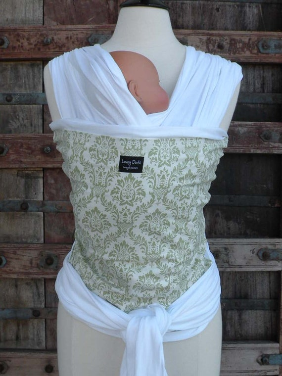 ORGANIC COTTON Baby Wrap Sling Carrier-Green Damask on white-DvD Included-One Size Fits All