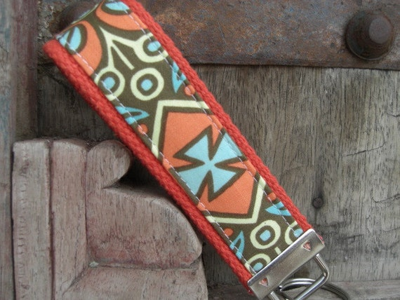 READY TO SHIP-Beautiful Key Fob/Keychain/Wristlet-Kashmir Olive on Orange