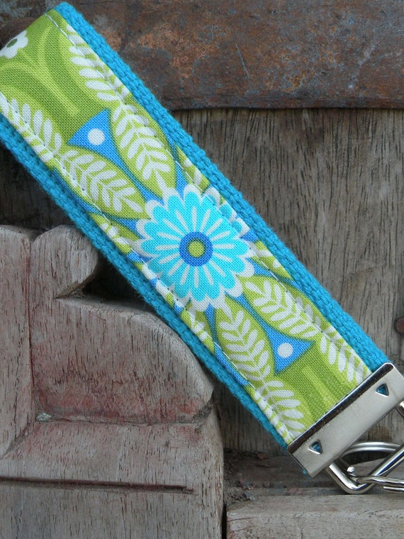 Wrist Key Chain--Wristlet--Key Chain--Perrey on Turq