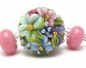 Pretty in Pink Chintz Floral Focal and Rondelles-Lampwork Beads SRA