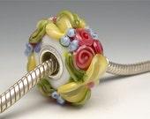 Butter Yellow and White Summer Chintz Floral PANDORA Bead-Brilynn Beads- Lampwork Beads SRA