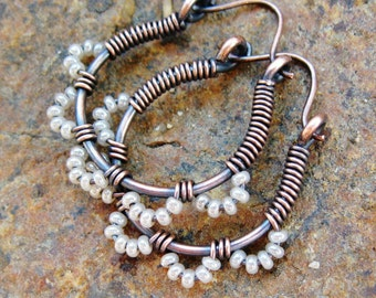 Ruffle Bottom Hoops - Wire Wrapped Hoop Earrings - pearly white and antiqued copper seed beaded cuties