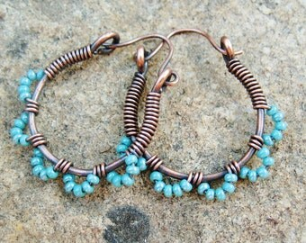Ruffle Bottom Hoops - wire wrapped antiqued copper cuties in aqua turquoise blue