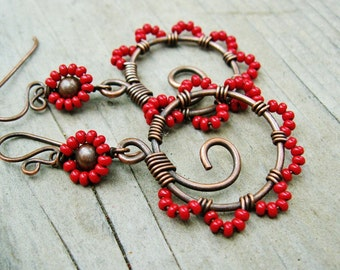 Tango Twirl - Bead Dance wire wrapped antiqued copper seed beaded hoop dangles in Red
