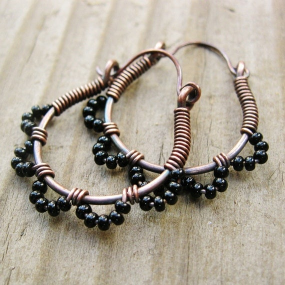Black Ruffle Bottom Hoops - wire wrapped seed beaded hoop earrings antiqued copper cuties