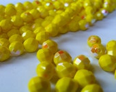 Opaque Sunshine Yellow AB 8mm Round Glass Fire Polished Beads 25 Pcs