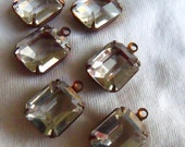 Vintage Crystal 12x10mm Glass Octagon Drops 6 Pcs