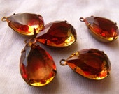 Rose and Citrine Vintage Cuba Stone 18X13mm Glass Pear Brass Ox Drops 2 Pcs