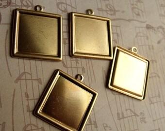 Brass 20mm Square Frame Charms 4 Pcs