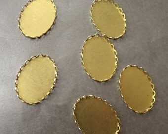 Scalloped Brass 30X22 Oval Settings 6 Pcs