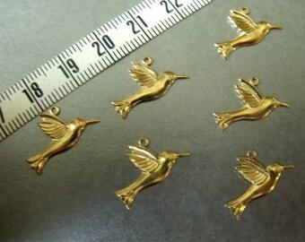 Hummingbirds in Flight 18x10mm Brass Looped Charms 6 Pcs