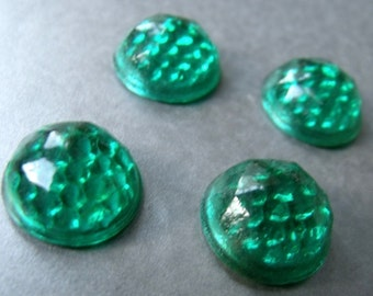 Green 16mm Vintage Glass Reflector Cabochons 4 Pcs