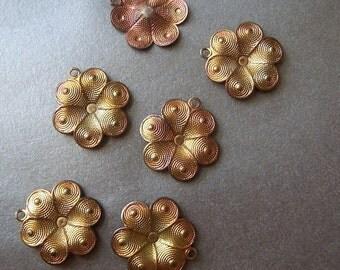 Brass 12mm Stylized Dapped Patina Flower Charms 6 Pcs
