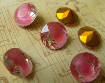 Rose Moonstone and Crystal Givre 60SS Round Vintage Glass Rhinestone 6 Pcs