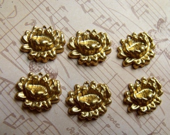 Lovely Brass Lotus 3D 20x17mm Charm Stampings 6 Pcs