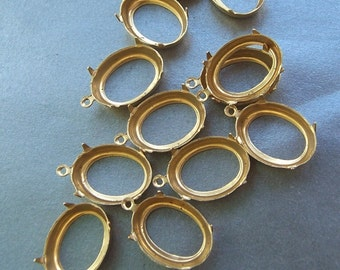 Brass 18x13mm Pronged Oval Open Backed Settings One Loop 12