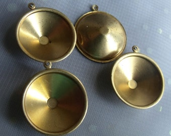Brass Slimline Rivoli 18mm Settings Single Loop 4 Pcs