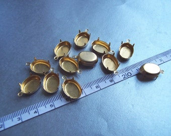 Brass 14X10 Oval Pronged Closed Back One Loop Settings 12 Pcs