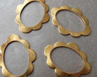 Fancy 33X25mm Brass Floral Open Oval Shapes 4 Pcs