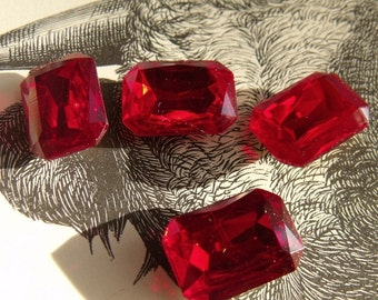 Ruby Red 18X13 Octagon Glass Gems Foiled 4 Pcs