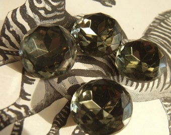 Black Diamond 20mm Round Vintage Glass Faceted Rhinestone Doublets 4 Pcs