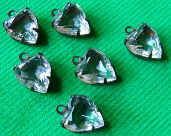 Crystal Clear 10X9mm Vintage Heart Glass Drops 6 Pcs