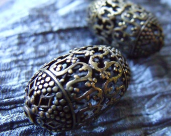 Fancy Antiqued Bronze Large Brass Filigree Ovals 31X18X18mm 2 pieces