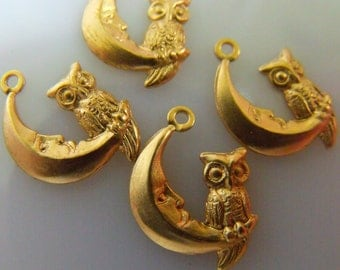 Owl Moon Charms Brass 25X22mm One Loop 6 Pcs