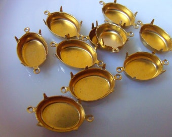 Brass 18X13 Oval Pronged Settings Two Loops Closed Back 12 Pcs